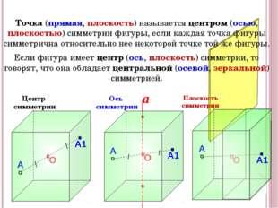 Центр симметрии Плоскость симметрии Точка (прямая, плоскость) называется цен