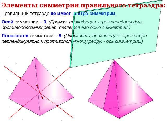 Правильный тетраэдр не имеет центра симметрии. Осей симметрии – 3. (Прямая, п...