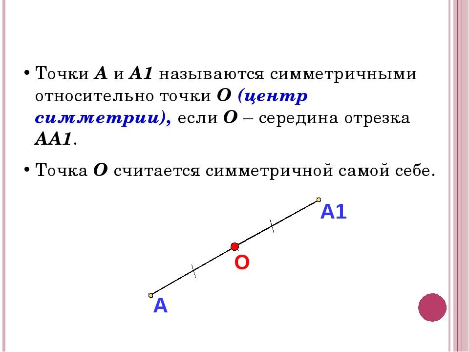 СИММЕТРИЯ В ПРОСТРАНСТВЕ Точки А и А1 называются симметричными относительно...