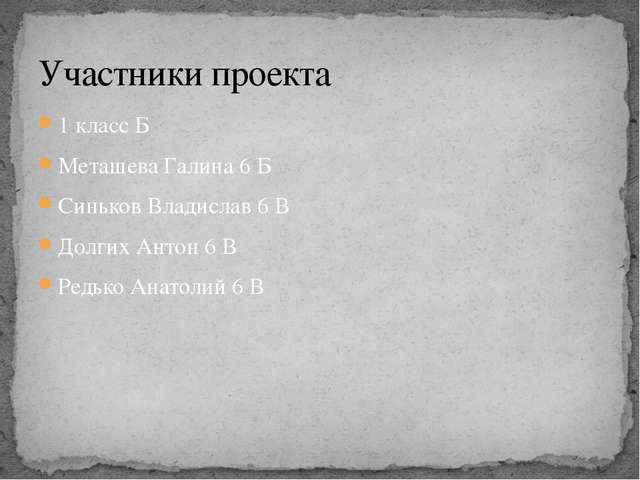 1 класс Б Меташева Галина 6 Б Синьков Владислав 6 В Долгих Антон 6 В Редько А...