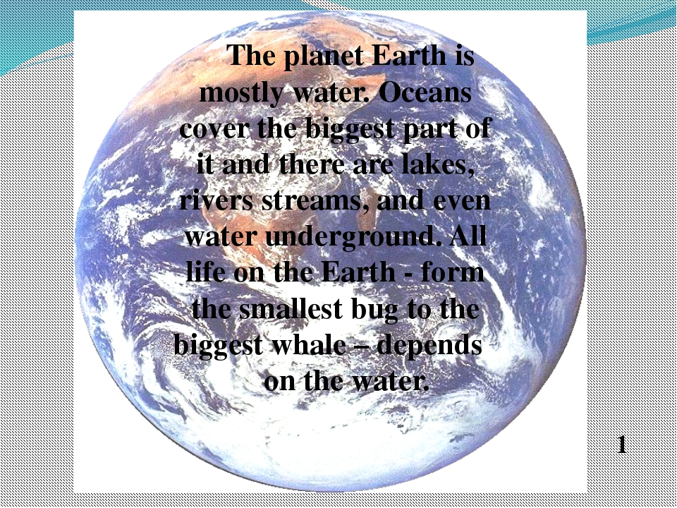 The planet Earth is mostly water. Oceans cover the biggest part of it and th...