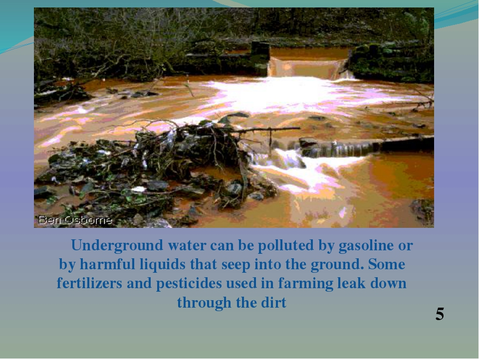 Underground water can be polluted by gasoline or by harmful liquids that see...