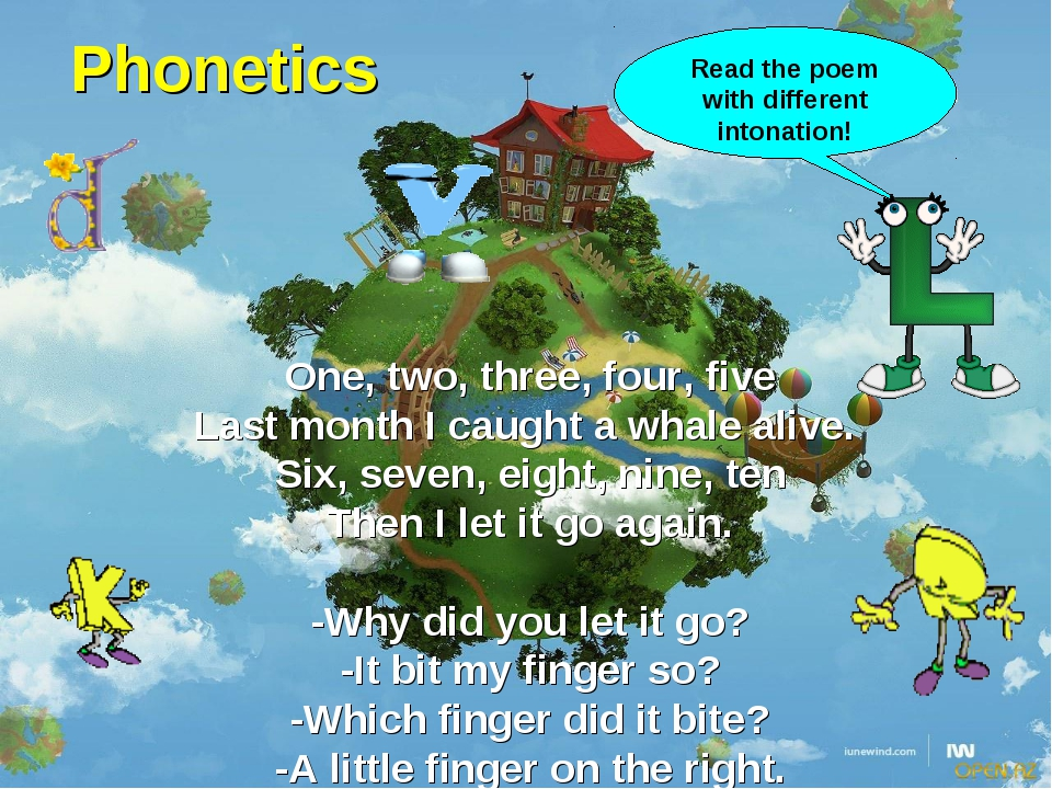 Phonetics One, two, three, four, five Last month I caught a whale alive. Six,...