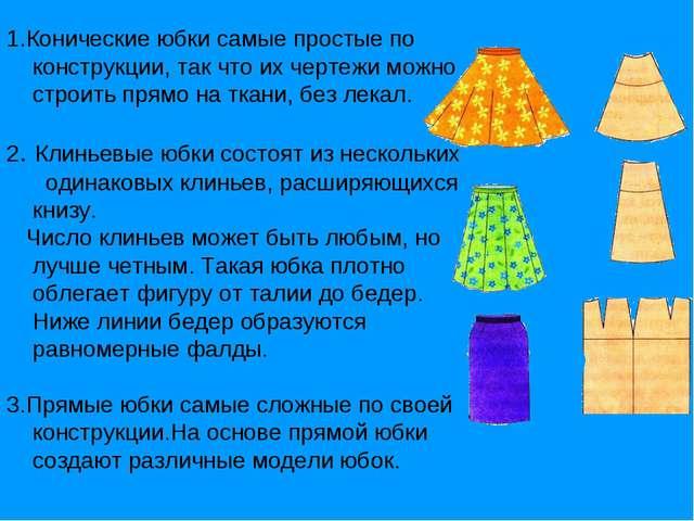 1.Конические юбки самые простые по конструкции, так что их чертежи можно стро...