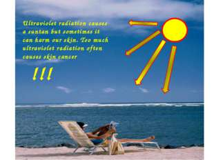 Ultraviolet radiation causes a suntan but sometimes it can harm our skin. Too