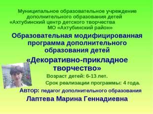 Муниципальное образовательное учреждение дополнительного образования детей «А