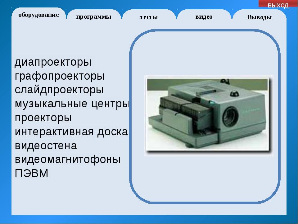 оборудование программы Выводы тесты видео выход 1. Интенсификация урока 2. П...