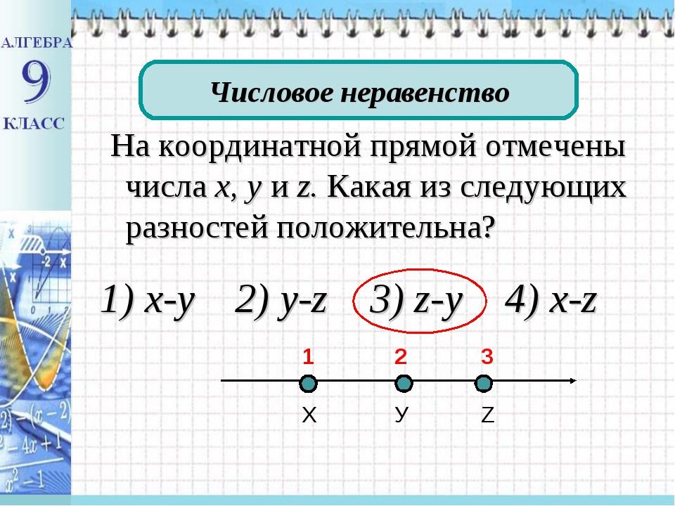 На координатной прямой отмечены числа х, у и z. Какая из следующих разностей...
