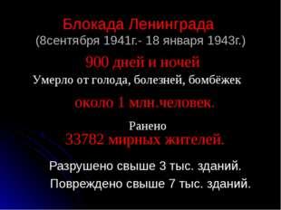 Блокада Ленинграда (8сентября 1941г.- 18 января 1943г.) Разрушено свыше 3 тыс