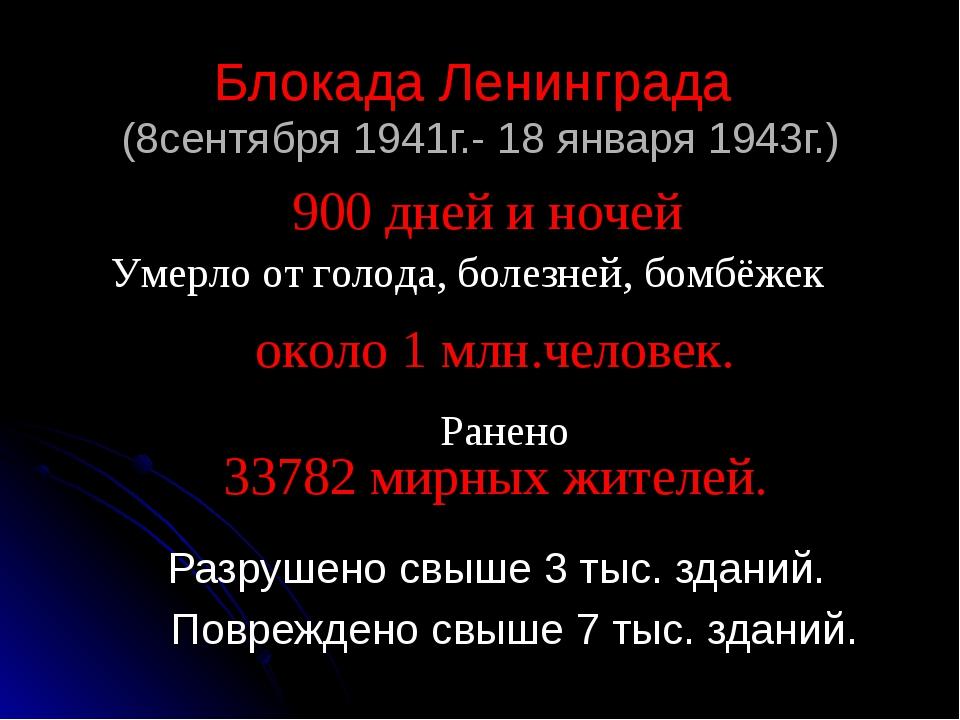 Блокада Ленинграда (8сентября 1941г.- 18 января 1943г.) Разрушено свыше 3 тыс...