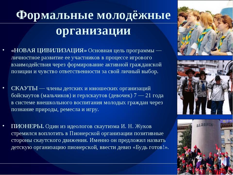 Формальные молодёжные организации «НОВАЯ ЦИВИЛИЗАЦИЯ» Основная цель программы...