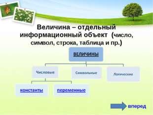 Величина – отдельный информационный объект (число, символ, строка, таблица и