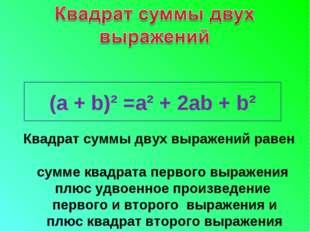 Квадрат суммы двух выражений равен сумме квадрата первого выражения плюс удво