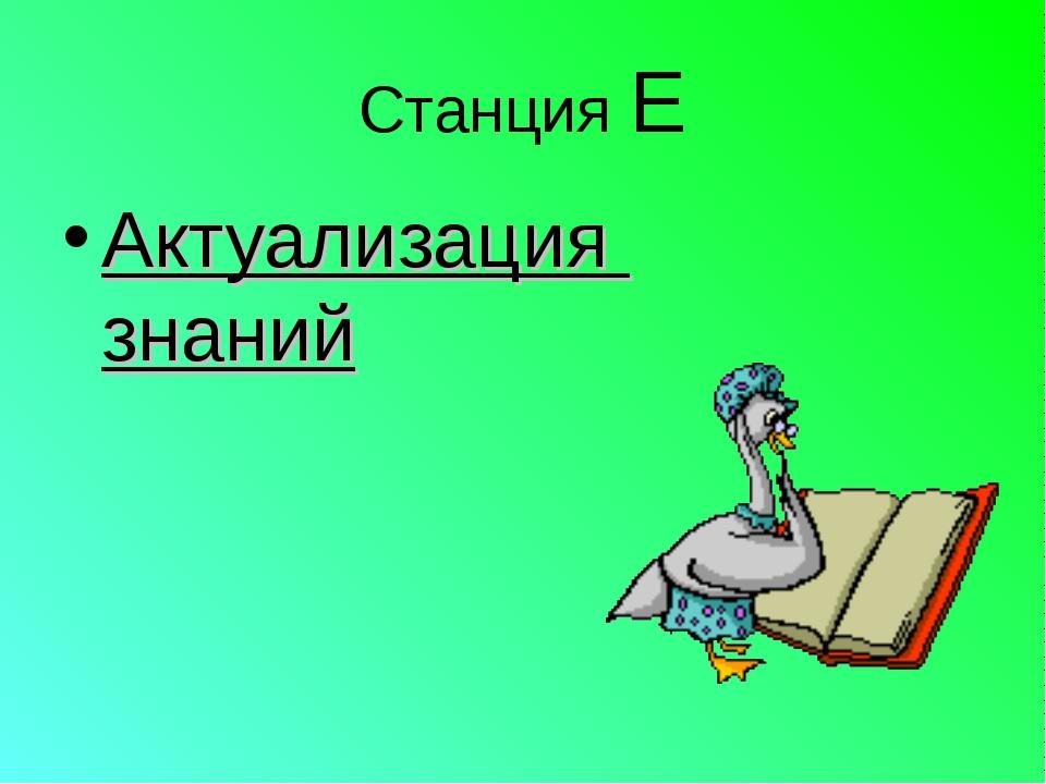 Станция Е Актуализация знаний