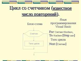 Цикл со счетчиком (известное число повторений). Счетчик Тело цикла Блок-схема