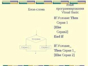 Условие Серия 2 Серия 1 Блок-схемаЯзык программирования Visual Basic If Усл