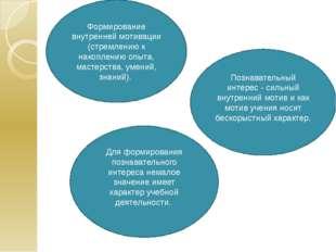 Формирование внутренней мотивации (стремлению к накоплению опыта, мастерства,