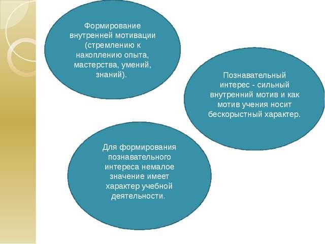 Формирование внутренней мотивации (стремлению к накоплению опыта, мастерства,...