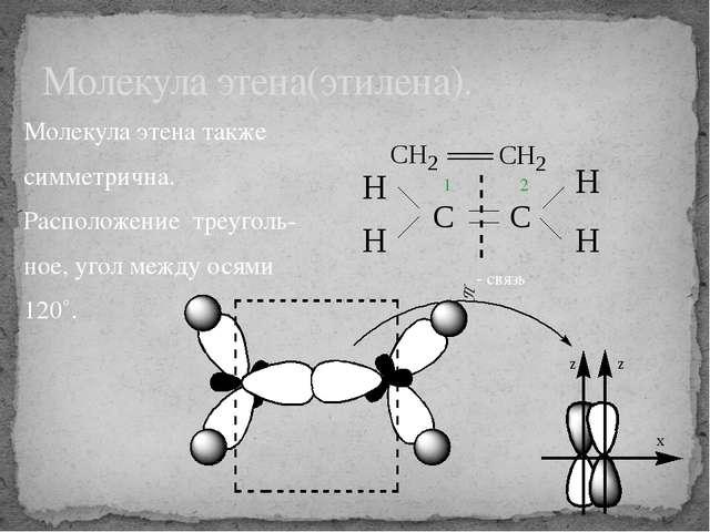 Молекула этена также симметрична. Расположение треуголь- ное, угол между осям...