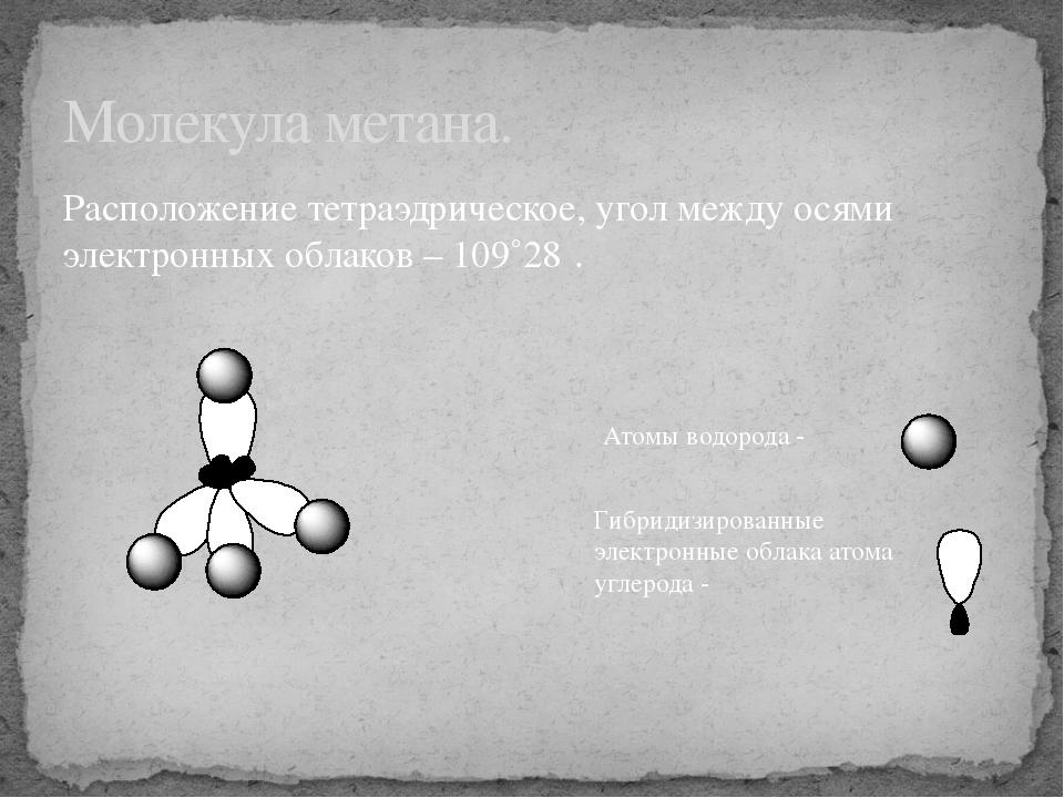 Расположение тетраэдрическое, угол между осями электронных облаков – 109˚28΄....