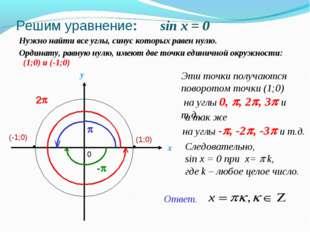 Решим уравнение: sin x = 0 Нужно найти все углы, синус которых равен нулю. x