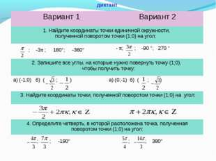 диктант Вариант 1Вариант 2 1. Найдите координаты точки единичной окружности,