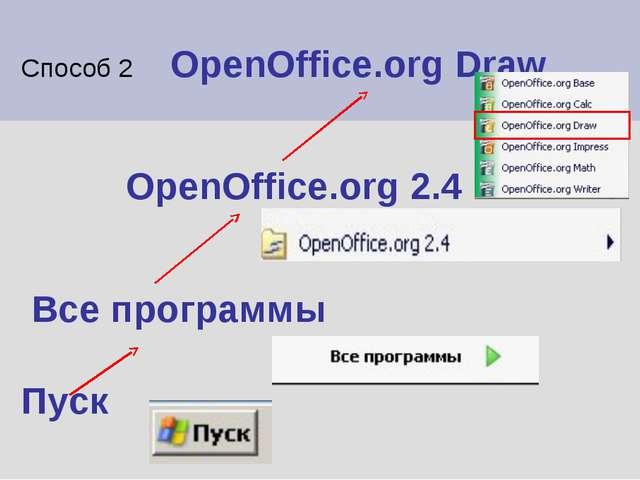 Способ 2 OpenOffice.org Draw OpenOffice.org 2.4 Все программы Пуск