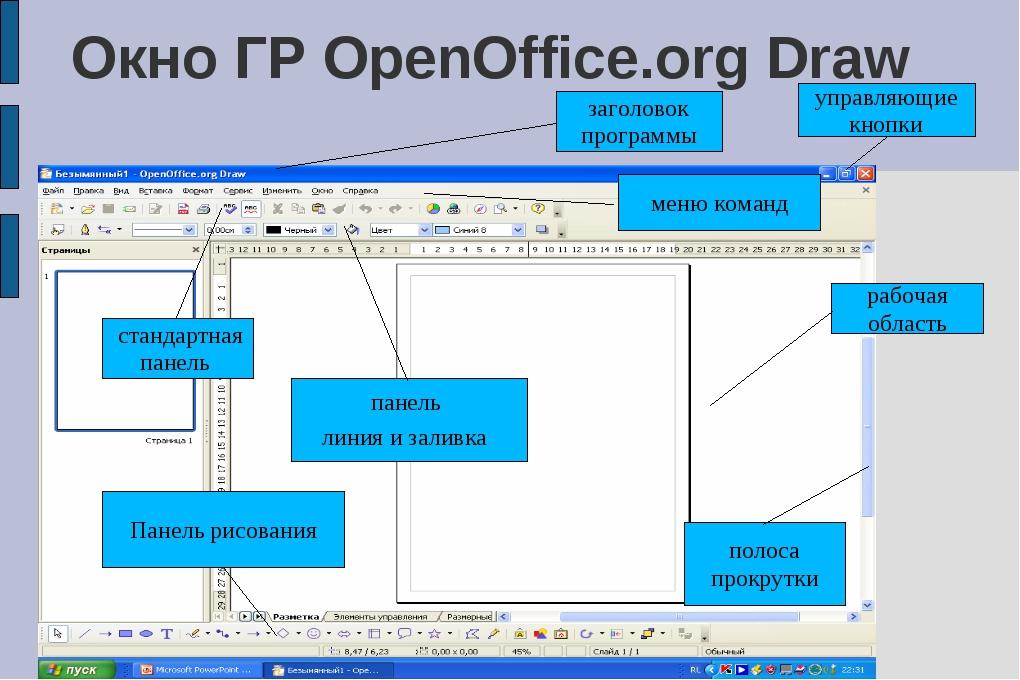 Окно ГР OpenOffice.org Draw заголовок программы управляющие кнопки рабочая об...