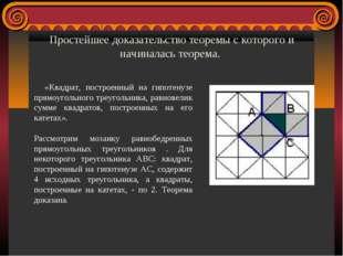 Простейшее доказательство теоремы с которого и начиналась теорема. «Квадрат,