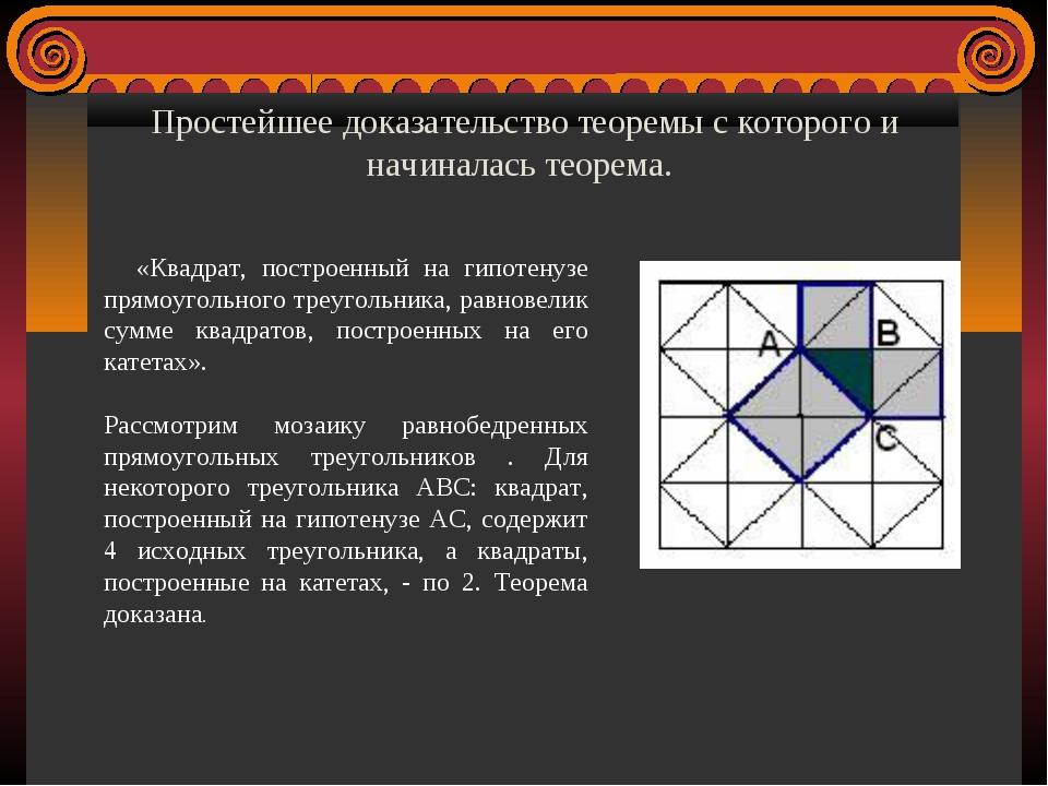 Простейшее доказательство теоремы с которого и начиналась теорема. «Квадрат,...