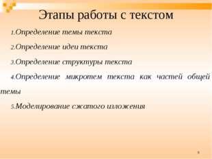 * Этапы работы с текстом Определение темы текста Определение идеи текста Опре