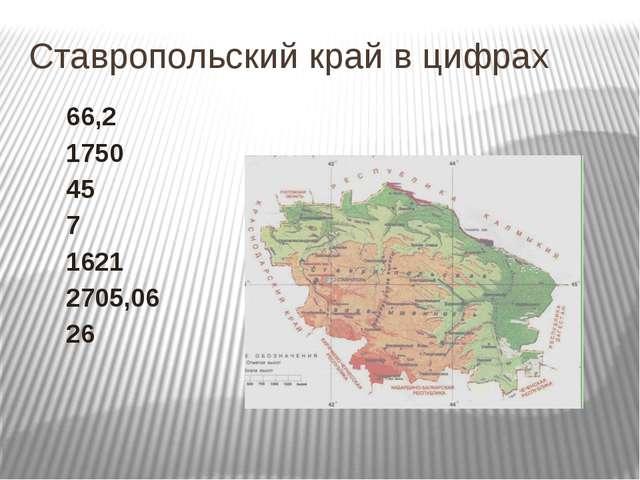 Ставропольский край в цифрах 66,2 1750 45 7 1621 2705,06 26