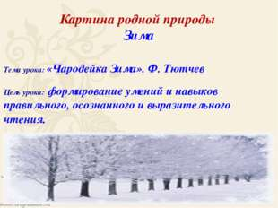 Картина родной природы Зима Тема урока: «Чародейка Зима». Ф. Тютчев Цель урок