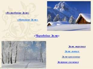 Зима-красавица Зимушка снежная Зима морозная Зима лютая «Чародейка Зима» «Вол