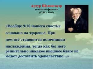Артур Шопенгауэр немецкий философ (1788 – 1860) «Вообще 9/10 нашего счастья о