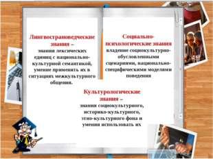 Лингвострановедческие знания – знания лексических единиц с национально-культ