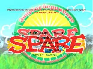 Образовательная программа об энергетике и окружающей среде для детей 10-15 лет