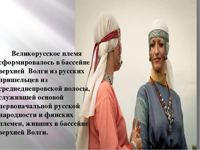 Великорусское племя сформировалось в бассейне верхней Волги из русских прише...