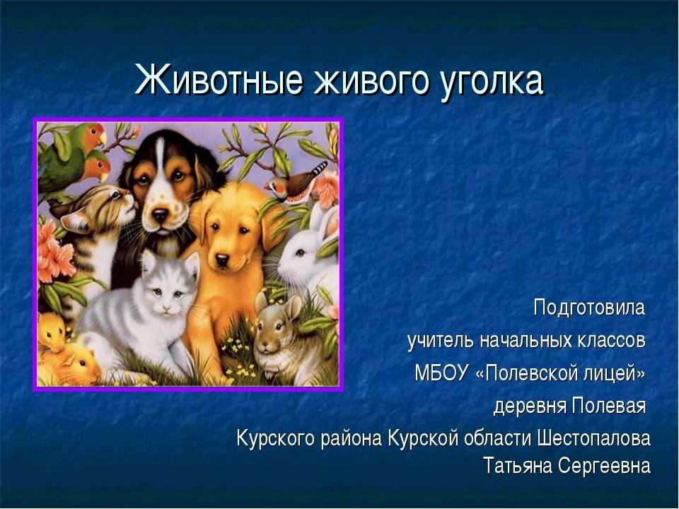 Животные живого уголка Подготовила учитель начальных классов МБОУ «Полевской...