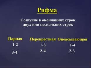 Созвучие в окончаниях строк двух или нескольких строк Рифма Парная 1-2 3-4 Пе