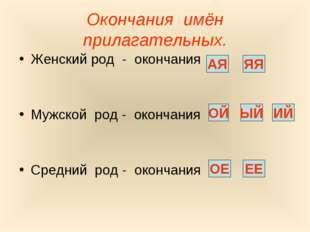 Окончания имён прилагательных. Женский род - окончания Мужской род - окончани