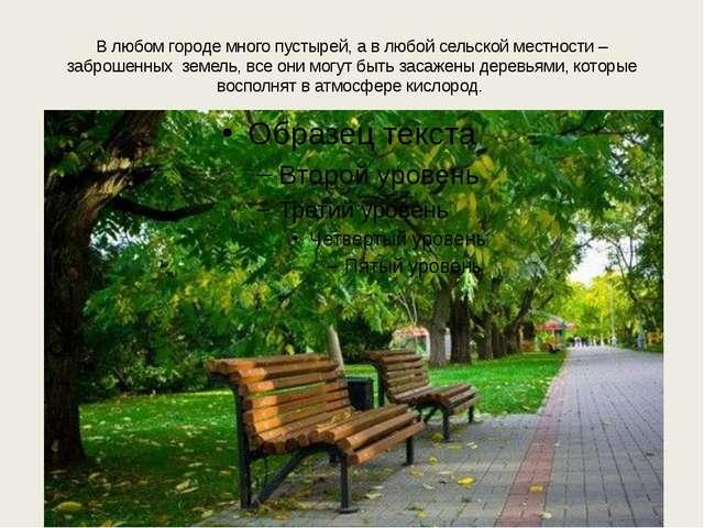 В любом городе много пустырей, а в любой сельской местности – заброшенных зем...