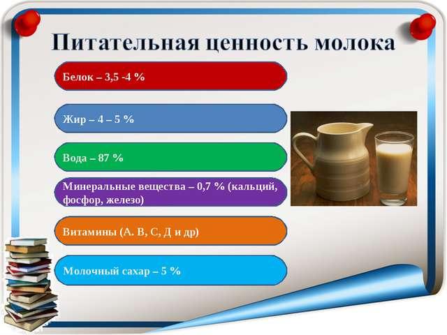 Белок – 3,5 -4 % Жир – 4 – 5 % Вода – 87 % Минеральные вещества – 0,7 % (каль...