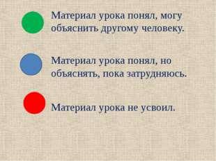 Материал урока понял, могу объяснить другому человеку. Материал урока понял,