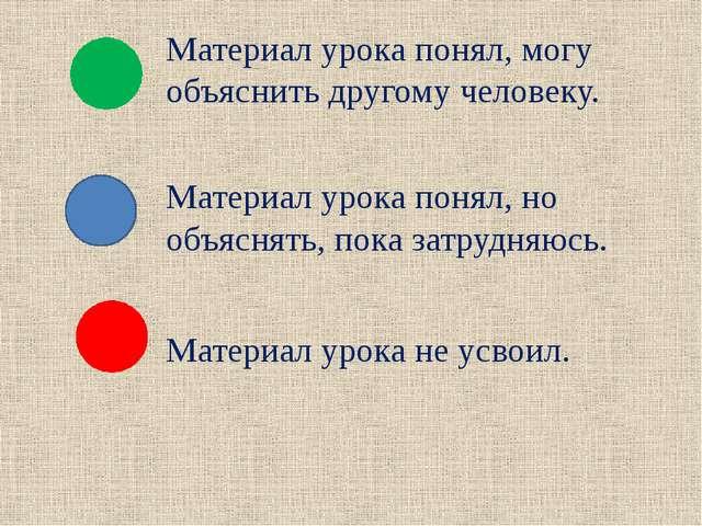 Материал урока понял, могу объяснить другому человеку. Материал урока понял,...