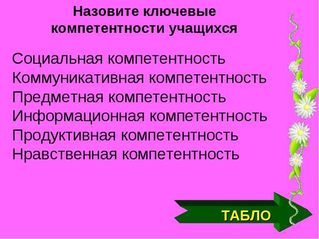 ТАБЛО Назовите ключевые компетентности учащихся Социальная компетентность Ком...