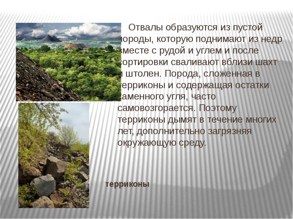 терриконы Отвалы образуются из пустой породы, которую поднимают из недр вмес...
