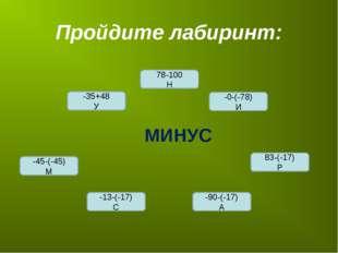 Пройдите лабиринт: -45-(-45) М -0-(-78) И 78-100 Н -35+48 У -13-(-17) С -90-(