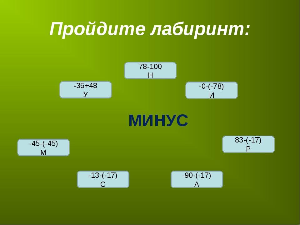 Пройдите лабиринт: -45-(-45) М -0-(-78) И 78-100 Н -35+48 У -13-(-17) С -90-(...