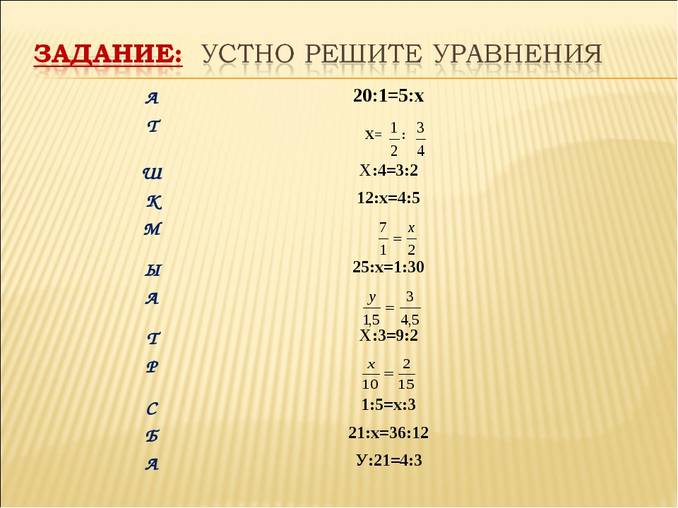 А20:1=5:х Т Х= : ШХ:4=3:2 К12:х=4:5 М Ы25:х=1:30 А ТХ:3=9:2 Р С1:5=...
